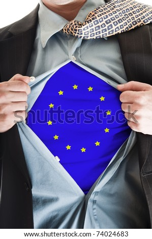 Business man showing Europe Union flag shirt