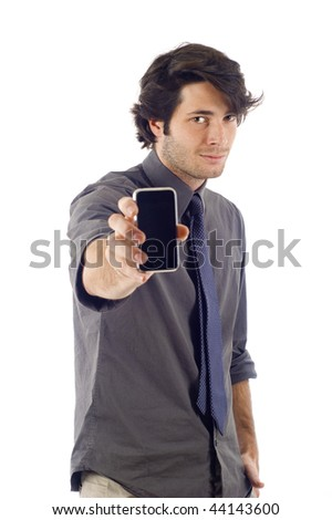 business man showing his smartphone pda isolated over a white background