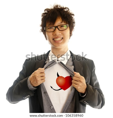 business man showing red evil heart inside of his suit