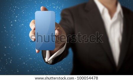 Business man showing smart phone with blank blue screen and stars in blue background