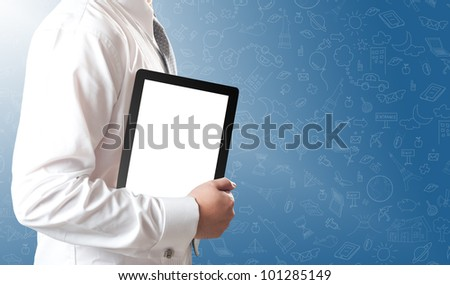 Business man showing tablet PC with blank white screen