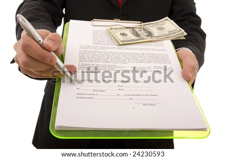 Business man showing the place where the seller must sign the contract (home made contract)