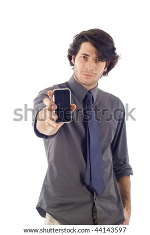 business man showng his smartphone pda isolated over a white background