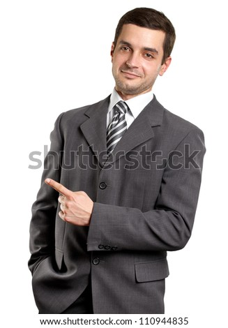 Business man shows something with his finger