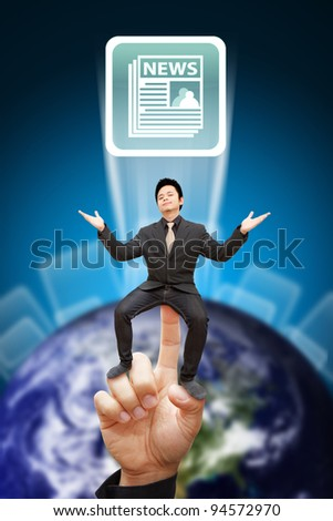 Business man sit on globe and news icon background