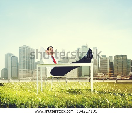 Business Man Sitting Back Relaxing Outdoors Concept
