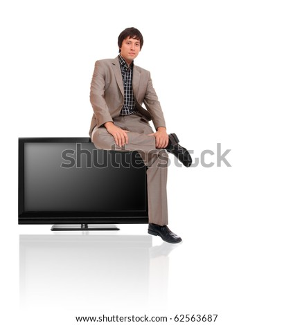 business man sitting on a tv screen over a white background