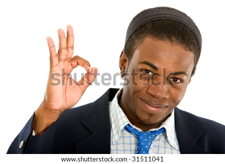 business man smiling doing the ok sign over a white background