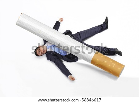 Business man squashed by a cigarette on white background.