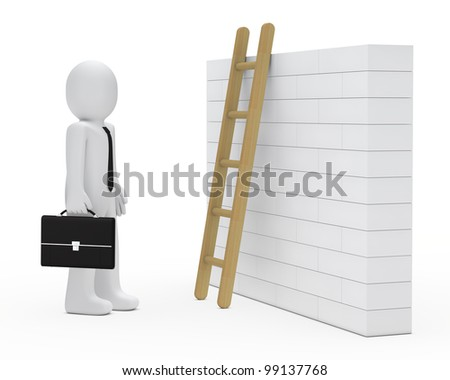business man stand before wall with ladder