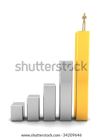 Business man standing on top of graph bars