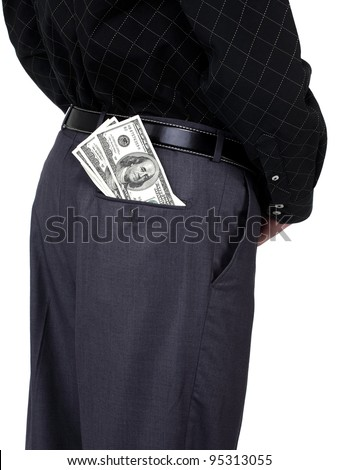 Business man standing with some american dollars in his back pocket, close up