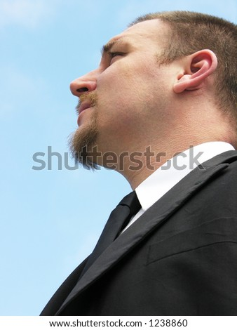 Business man staring into the future