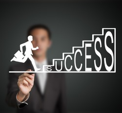 business man start to run and climb up  success stair figure drawn by a businessman