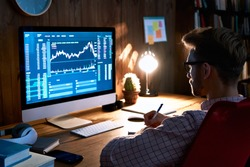 Business man stock exchange trader broker looking at pc computer screen, investor manager analyzing financial chart trading online investment data price crypto currency market graph, managing risks.