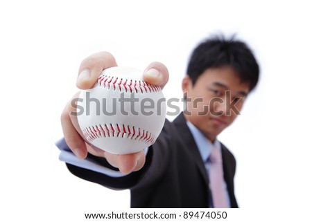 Business man take baseball with Self confident smile