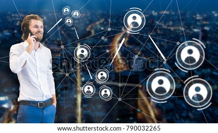 Business man talking in the phone with double exposure of city scape, people icons and connection dots. Corporate communication. #790032265