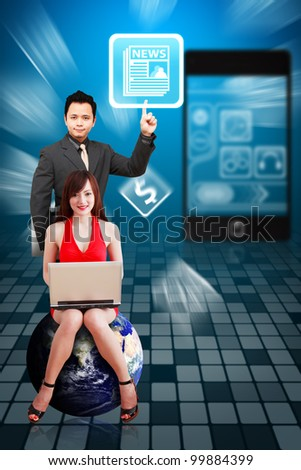 Business man touch the News icon from mobile phone : Elements of this image furnished by NASA