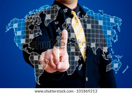 Business man touching on world map on virtual screen
