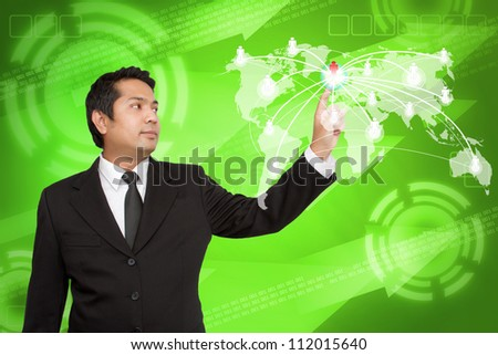 Business man touching social network structure