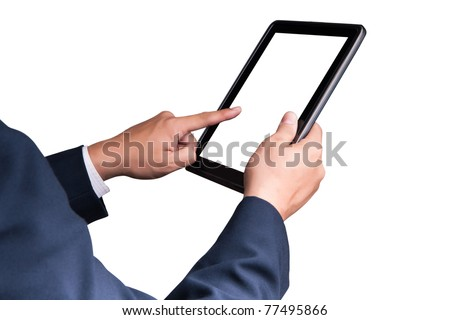 business man touching tablet pc , New Technology