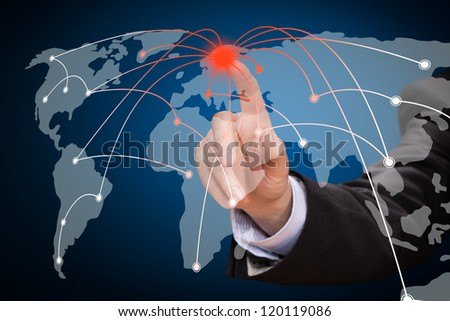 Business man touching world map screen. Social network.