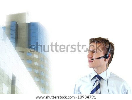 Business man trying to impose , young lawyer with corporate building on the background