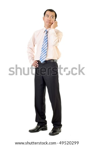 Business man use cellphone listening and standing on white background.