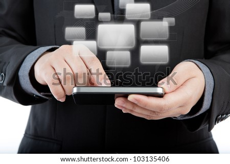 Business man use mobile phone with application icons