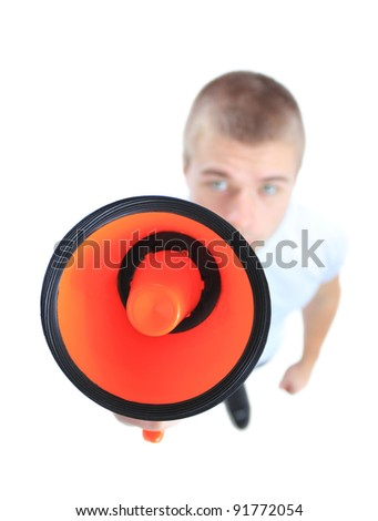 Business man using megaphone on white background. Top view.