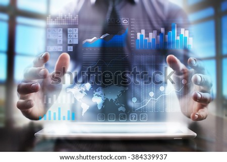 business man using modern tablet computer. business tehnology and internet concept. #384339937