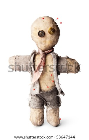business man voodoo doll with needles on white