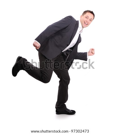 Business man walk and run and dance - stock photo