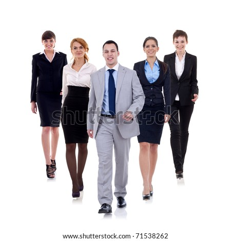 business man walking and leading his team isolated over a white background