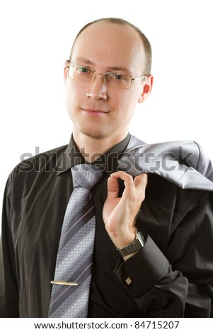 business man wearing  tie and glasses holding  jacket over the back on white background