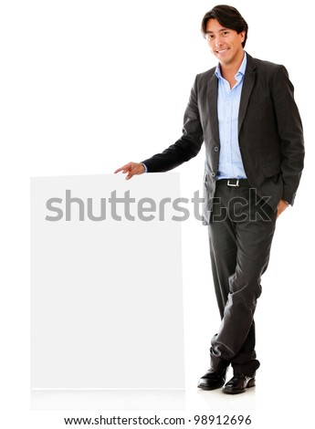 Business man with a banner ad - isolated over a white backround