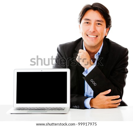 Business man with a laptop - isolated over a white background