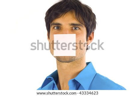 Business man with a post-it note on his face