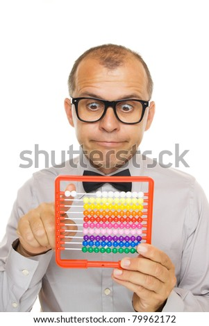 Business man with abacus calculator isolated on white background