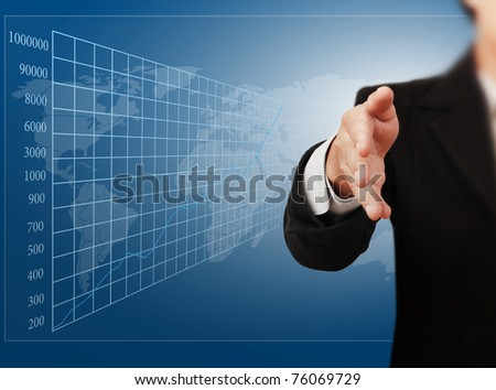 business man with an open hand ready