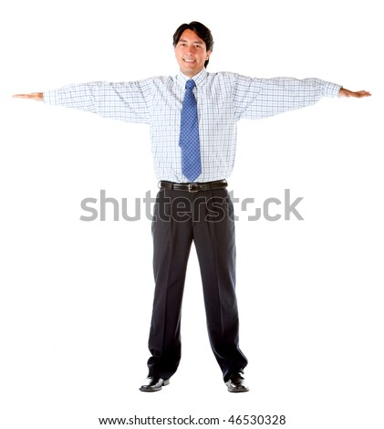 Business man with arms opened isolated over a white background