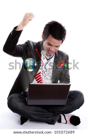 Business man with arms raised sitting use laptop on white background