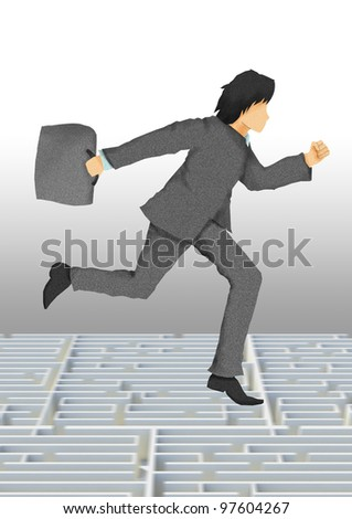 business man with briefcase running on maze, business conceptual illustration.