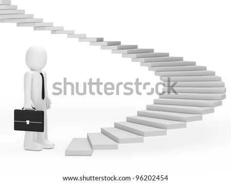 business man with briefcase stand befor stairs