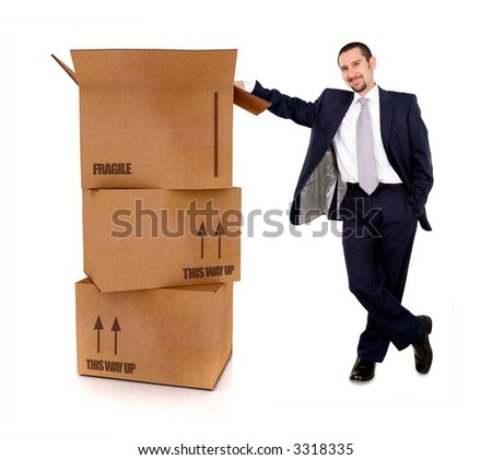 business man with card board boxes in high detail - isolated over a white background