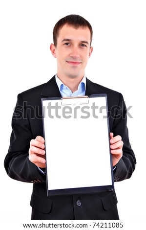 Business man with clipboard