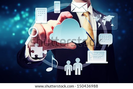 Business man with cloud computing connection concept on blue technology background