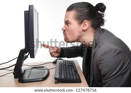 Business man with computer problems