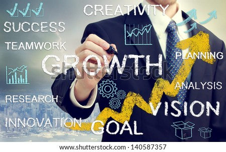 Business man with concepts of growth, innovation, vision, success, and creativity with rising arrows