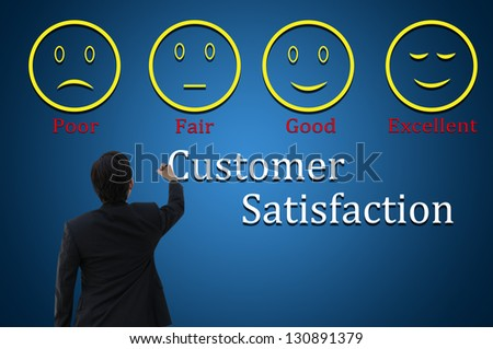 Business man with customer satisfaction concept